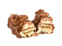 Chocolate bar with wafer and nuts Stock Images
