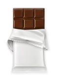 Chocolate bar, white polyethylene wrap Royalty Free Stock Photography