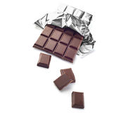Chocolate bar. In wrapper isolated on white background Royalty Free Stock Image
