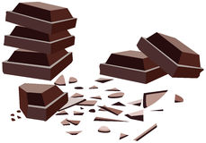 Chocolate bars. Vector chocolate bars with crumbs Royalty Free Stock Photography