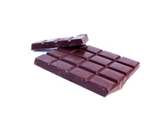 Chocolate bars. Broken chocolate bars on white - isolated Royalty Free Stock Photography