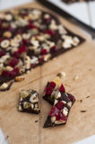 Chocolate bars. With dry fruits and hazelnuts Royalty Free Stock Photos