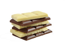 Chocolate bars. White and milk chocolate bars stock images