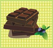 Chocolate bars. Illustration of chocolate bars and blueberries Royalty Free Stock Image