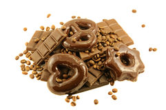 Chocolate bars and cakes Stock Photos