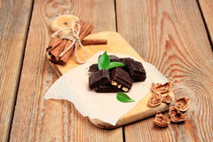 Chocolate bars with cinnamon and walnuts Royalty Free Stock Photography