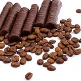 Chocolate bars and coffee Royalty Free Stock Photography