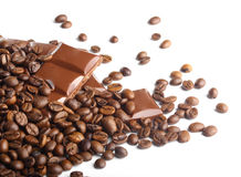 Chocolate bars and coffee beans stock photo