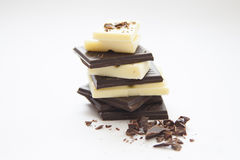 Chocolate. A bars of dark and white chocolate Royalty Free Stock Image
