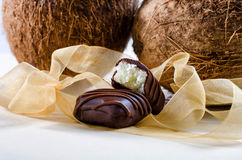 Chocolate bars filled with coconut. Homemade chocolate bars filled with coconut Royalty Free Stock Photo