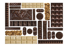 Chocolate bars in a grid. On a white background Stock Photo