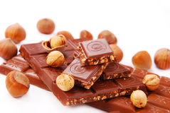 Chocolate bars with hazelnuts Royalty Free Stock Image