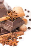 Chocolate bars with its ingredients Royalty Free Stock Photo