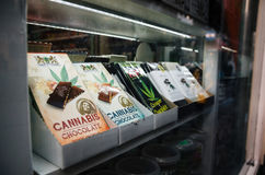 Chocolate bars with marijuana sell in a Smart Shop in Amsterdam city center. royalty free stock image