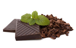 Chocolate bars and mint leaf. Isolated on white background Stock Images