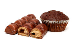 Chocolate Bars and Muffin Stock Images