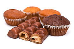 Chocolate Bars and Muffins Royalty Free Stock Image