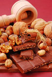 Chocolate bars with nuts and raisins Royalty Free Stock Photo