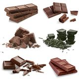 Chocolate bars and pieces Stock Images