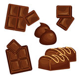 Chocolate bars and pieces  set. Sweet brown candy chocolate gourmet delicious. Tasty ingredient sugar chocolate dessert food candy cocoa isolated. Chocolate Royalty Free Stock Image