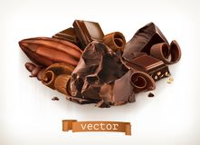 Chocolate bars and pieces, shavings and cocoa fruit. Vector illustration. Chocolate bars and pieces, shavings and cocoa fruit. 3d vector illustration Stock Photos