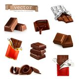 Chocolate bars and pieces vector illustration