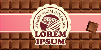 Chocolate bars in ribbon with vintage label Stock Photo