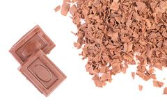 Chocolate bars and shavings. Royalty Free Stock Photo