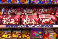 Wonka and other chocolate bars in a sweets shop. Stock Photography