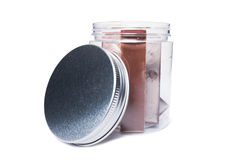 Chocolate bars in transparent kitchen storage container or jar Stock Photography