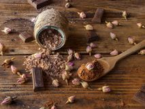 Chocolate bath salts, chocolate spa stock images