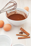 Chocolate batter preparation Stock Images