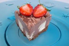 Chocolate bavarian cream cheesecake Royalty Free Stock Images