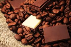 Chocolate and beans mix Royalty Free Stock Photo