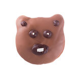 Chocolate bear donut isolated. Chocolate donut as a funny bear muzzle  isolated on white background, top view Royalty Free Stock Photography