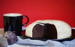 Chocolate beet ganache cake with marzipan icing Stock Image