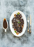 Chocolate Belgian waffles with salted caramel Royalty Free Stock Photo