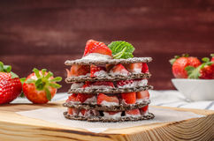 Chocolate belgian waffles with strawberries Royalty Free Stock Photos