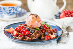 Chocolate Belgium Waffles with Berries and Nice Cream Stock Images