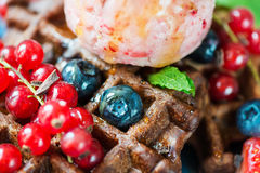 Chocolate Belgium Waffles with Berries and Nice Cream Royalty Free Stock Image
