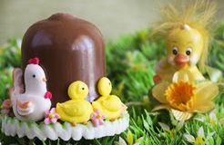 chocolate bell  with decorative chick Royalty Free Stock Photo