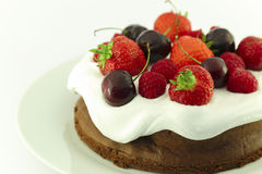 Chocolate berry cake Stock Images