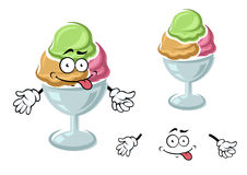 Chocolate, berry and mint sundae ice cream. Cartoon sundae ice cream character with chocolate, strawberry and mint scoops in wide dessert bowl. For dessert heme Stock Image