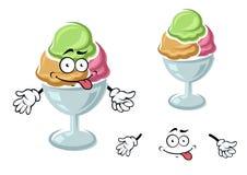 Chocolate, berry and mint sundae ice cream Stock Image