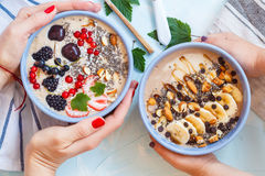 Chocolate and berry smoothies bowls. Healthy vegan breakfast: chocolate and berry smoothies bowls royalty free stock photo
