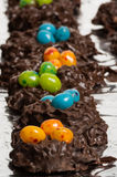 Chocolate bird nests with jelly beans Stock Photography