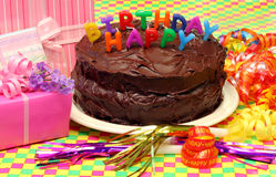 Chocolate Birthday Cake Royalty Free Stock Image