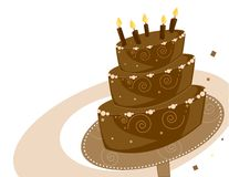 Chocolate Birthday cake. Chocolate layer birthday cake on a white and brown background Stock Photography