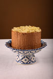 Chocolate Birthday Cake With Almond Flakes Stock Images