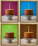 Chocolate Birthday Cake Burning Candle Frames Stock Images